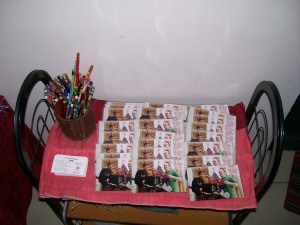 Gifts for the teachers:  holiday photo, Christmas pencil and my namecard.