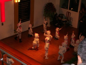 "From the balcony, the ""little sheep"" children's dance number."