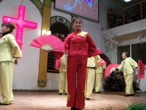 The church elderly with their Chinese fan dance routine.