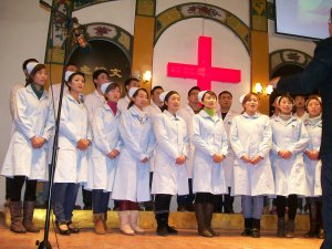 The church's medical clinic doctors and nurses perform.