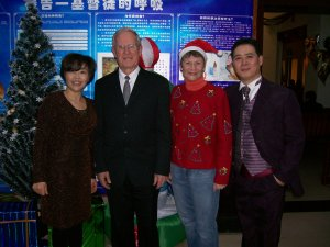 Merry Christmas, 2012!  L-R:  Pastor Liao, Robin, myself, and John Lu