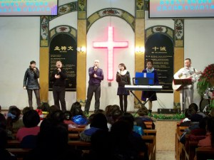 Our praise team leads the last hour of our Christmas celebrations.