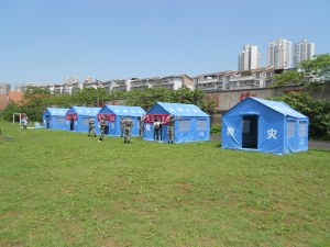 Emergency disaster relief tests were displayed on our sports field by the army.