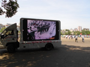 An emergency relief video played constantly for those interested.