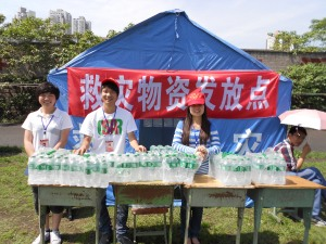 Students manned the tables to hand out free water after the meeting.