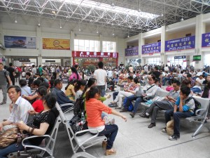 Our Luzhou bus station, filled with travelers.