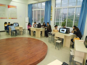 In the language lab, everyone was given some self-study time to prepare for our evaluation