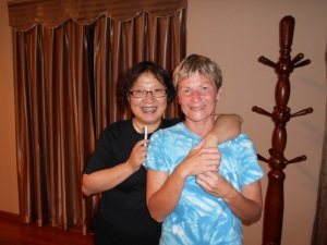 My Chinese sister, Cathy, and me
