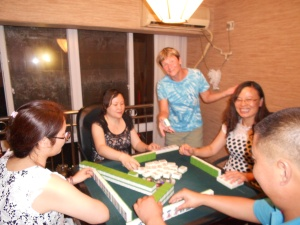 Cathy has decided to teach me to play mahjong.  Here she gathered her friends together and invited me along.