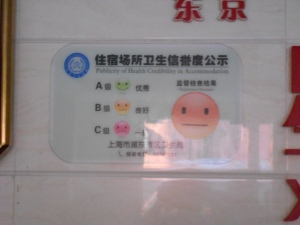 "An example of China's sanitation inspection sign. This was my overnight hotel in Shanghai, which received a ""B"" (so-so) rating."