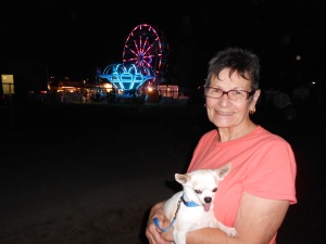 My mom and Lao-lao, dazzled by the night life of fair week.