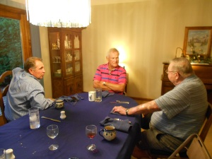 The men of the family, enjoying bonding time.  My brother, Paul, to the right, Chuck (center) and my dad (right)