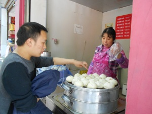 My former student, Ji Ke, still enjoys his breakfast mantou, bought from local sellers.