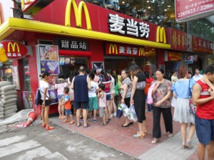 In downtown Luzhou, our McDonalds always has a long line for ice-cream cones, served from this street-side walk-up window.