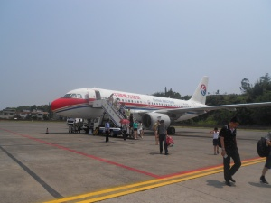 Arriving at our Luzhou Airport.  The airplane taxies right up to the building and off we go!
