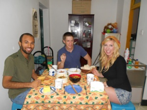 Welcome, new Peace Corp Volunteers!  In my home, from left to right:  Jeff, Greg and Angela.