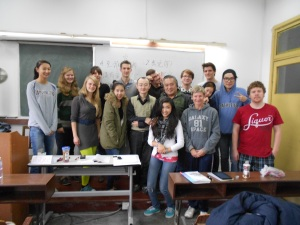 Teacher Chen (center, in green vest) and our class  (I'm in the front row, gray sweatshirt)