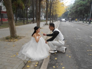 Couples out for their wedding photos during weekends are always seen in Chengdu.  The autumn leaves made posing all the more special.