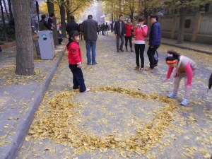 We all love to play in fall leaves.  These kids are creating a golden heart.