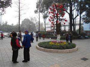 The Meng Zhui Wan park entrance, decked for the New Year.