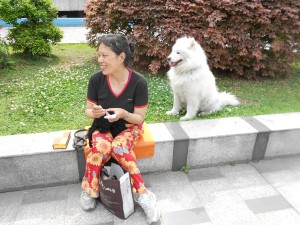 One of our pet-lover's crowd passes the time by crocheting while her Samoa enjoys his outing.