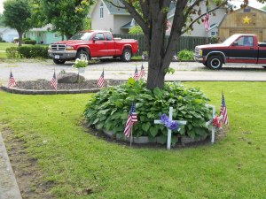 My neighbors, the Commers, along with many others, decorate their lawns for Memorial Day.