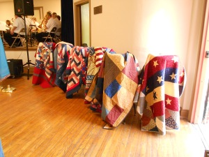 The Quilts of Valor, seen here, were made by our local Marshall women and presented to WW 2 veterans for their service to their country.