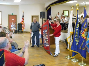 The first quilt presented to a veteran.