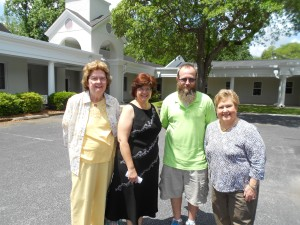 """Welcome, Connie, to St. Marks!""  (left - right:  Loyal Connie Wieck circle member Barbara Shaw, Pastor Scarlett, youth director Rich, Susan Brooks, whom I stayed with)"