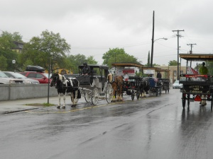 Tourist central in Charleston could include a horse-drawn wagon ride around town.