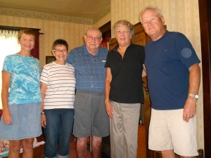 A visit from family (From left to right: Myself, my mom, dad, Aunt Sherry and Uncle Chuck)