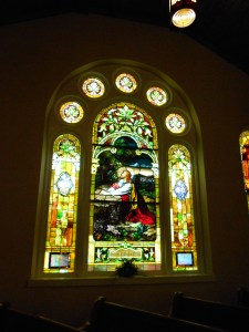 The Brownstown church has such lovely stained glass windows!