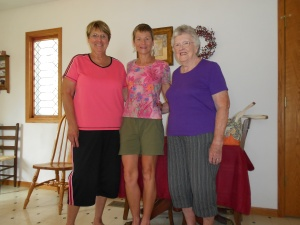 I spent the night with Joanne Burris (purple shirt), who invited church secretary Wilma (in the pink) to join us for breakfast.