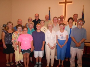 An evening potluck at Maxey Chapel brought together both Maxey Chapel members and Galesburg First UMC members.
