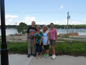Marilyn, myself and her retired teachers' clan visit LeClair, IA, about 30 minutes from Galesburg, located on the Mississippi River (Behind us)