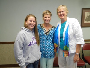 From Mackinaw, IL, Pastor Joy Schlesselman (right) brought high school senior  Jessie Kilbride for a little discussion about mission opportunities through our UMC.  Thanks for that, Joy!