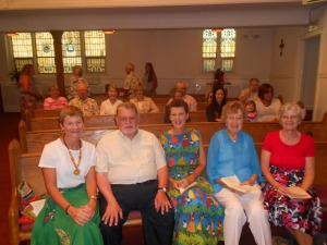 Pekin Grace UMC 8:15 a.m. service. Me with Pastor Gary Ford with my good friend Sally Morris (former UM missionary to Africa) and her mom