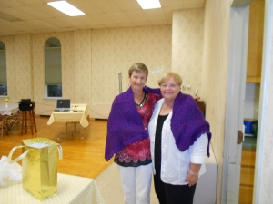 I am presented with a lovely prayer shawl from Pam, a faithful Pittsfield UMW member