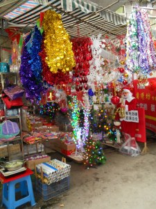 Luzhou's Christmas Alley, located in the downtown business district, carries stalls where anything Christmas can be found.