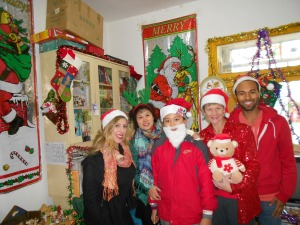 Vice-dean Lisa Zhang, her son (Santa beard) and the foreign teachers