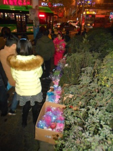 "Sellers up and down the crowded streets selling ""peace"" apples in Luzhou"