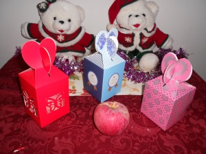 A few of my specially boxed peace apple gifts, sold for about 75 each.
