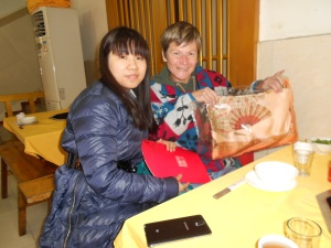 Zhang Ou (Rebecca) gave me a lovely silk scarf for my dress-up wardrobe.