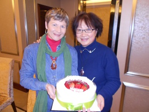 My Luzhou Birthday gathering:  Me and Li Xiaolian (Cathy) with my birthday cake.