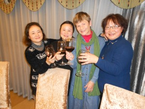 Toasting to friendship:  Cathy and her elementary school classmates, my new friends