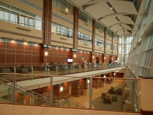 The front lobby area, with ground floor offices, gift shop and cafeteria; second floor hallway waiting area for updates on surgeries