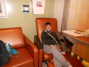 My mom in my dad's hospital room.  Two lounge chairs are for those of us visiting.