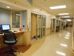 The ICU unit hallway and my dad's room
