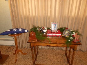My father's remembrance table:  teacher, Marine and Democrat