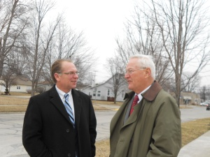 My brother, Attorney Paul Wieck (left) and Uncle Chuck (right), retired physics teacher at Lakeland College, talk after the service.